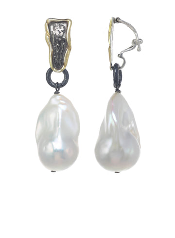 White Baroque Pearl, Gold/Silver Openable Bale