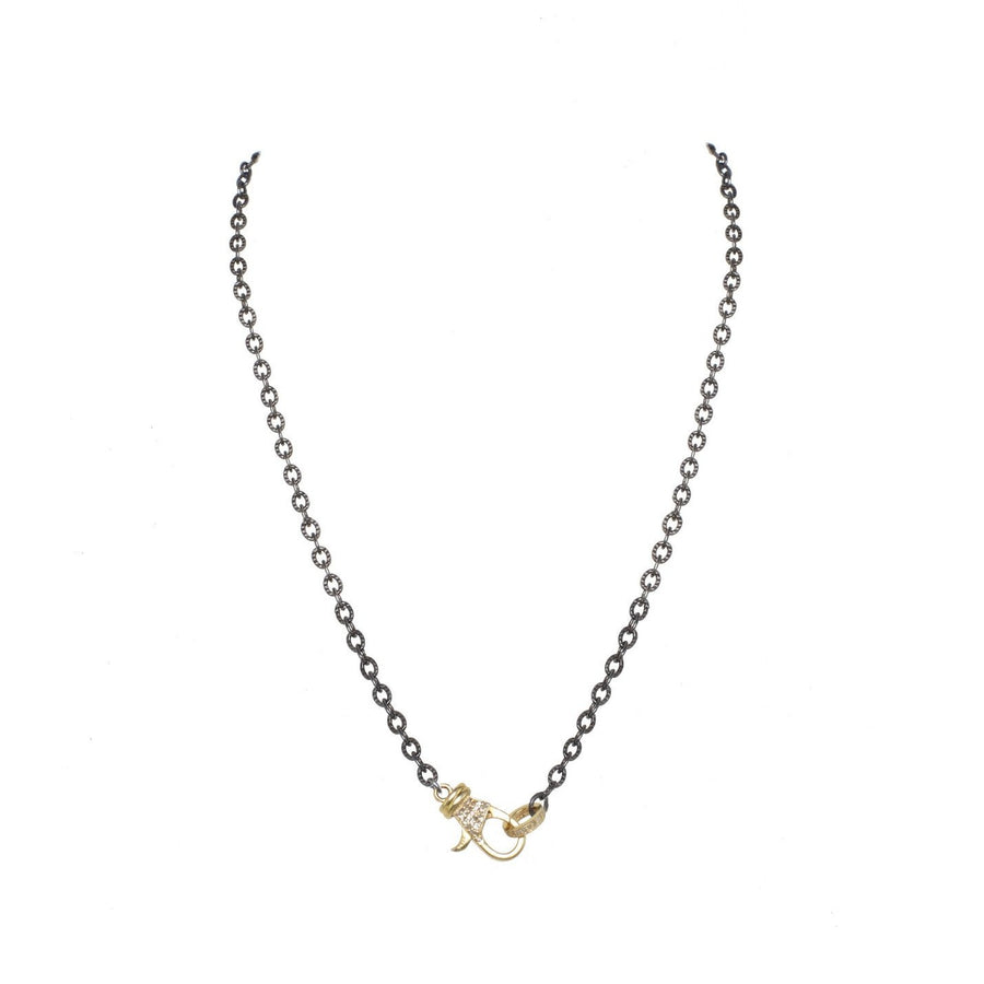 RHODIUM CHAIN with GOLD & DIAMOND CLASP