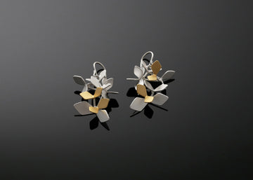 Sparkling Forest Hook Earrings with Four Gold Leaves
