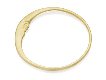 Gold Crescent Moonface Bangle