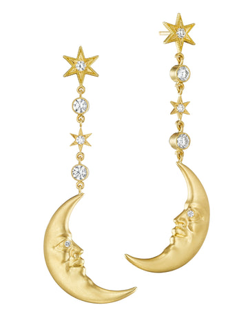 Diamond Hanging Crescent Moonface Earrings