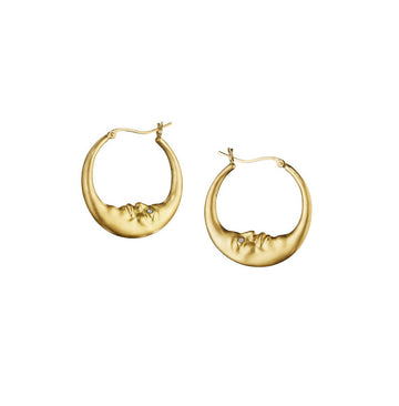 Small Crescent Moon Hoop Earrings