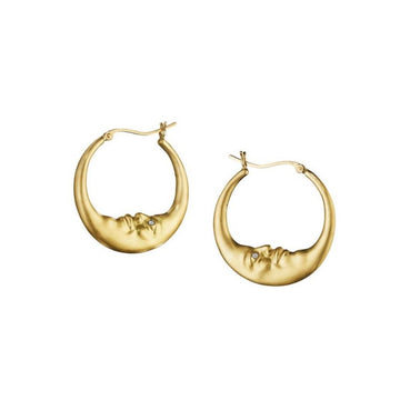 Medium Crescent Moon Hoop Earrings