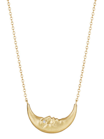 Crescent Moonface Necklace with Diamond Eyes