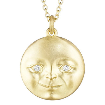 Gold Moonface Pendant with Diamond Eyes