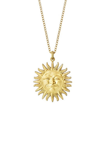 Small Sunface Pendant with Diamond Eyes