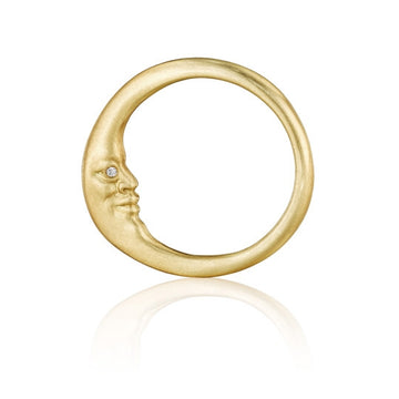 Crescent Moonface Ring
