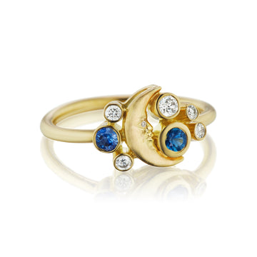 Sapphire and Diamond Crescent Moonface Meteor Ring