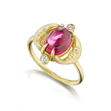 Crescent Moonface Rubelite Reflection Ring