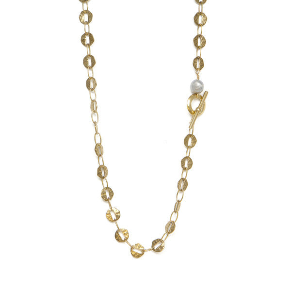 Freshwater Pearl with Hammered Links Necklace
