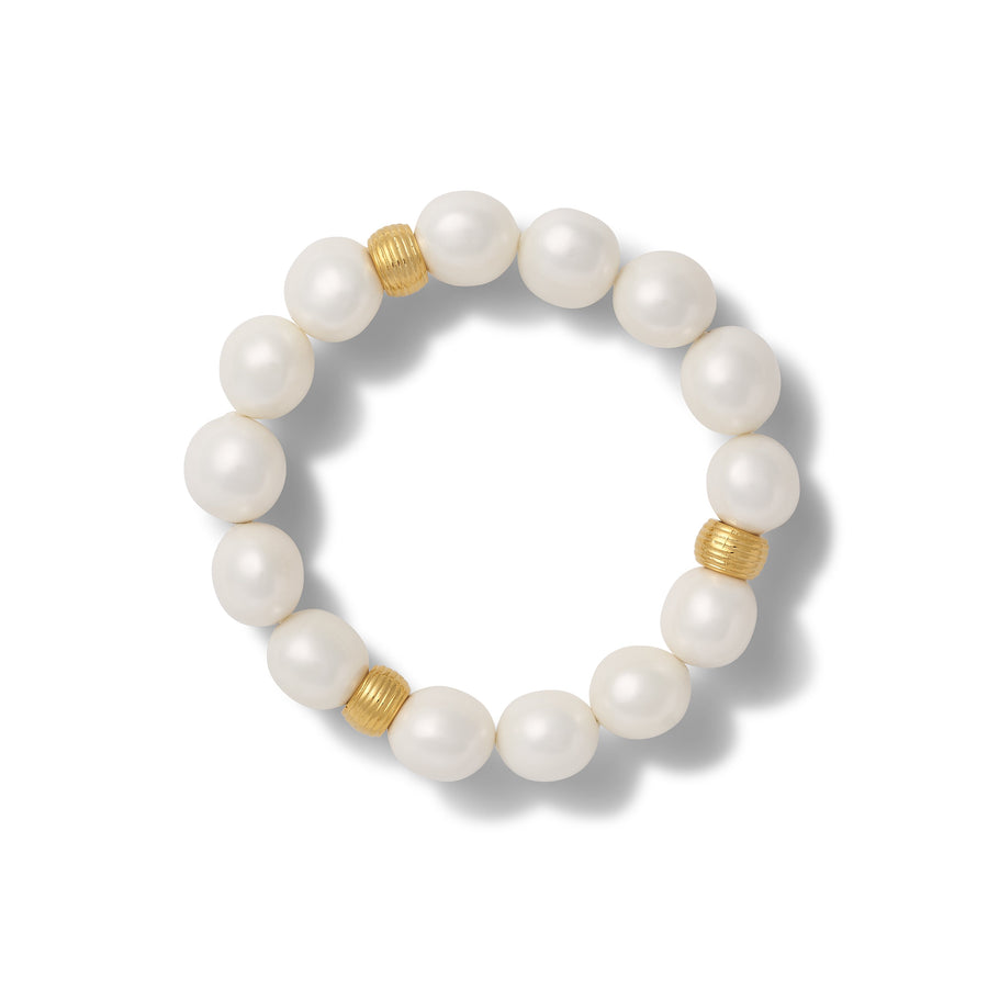 Medium Pebble pearl bracelet- White