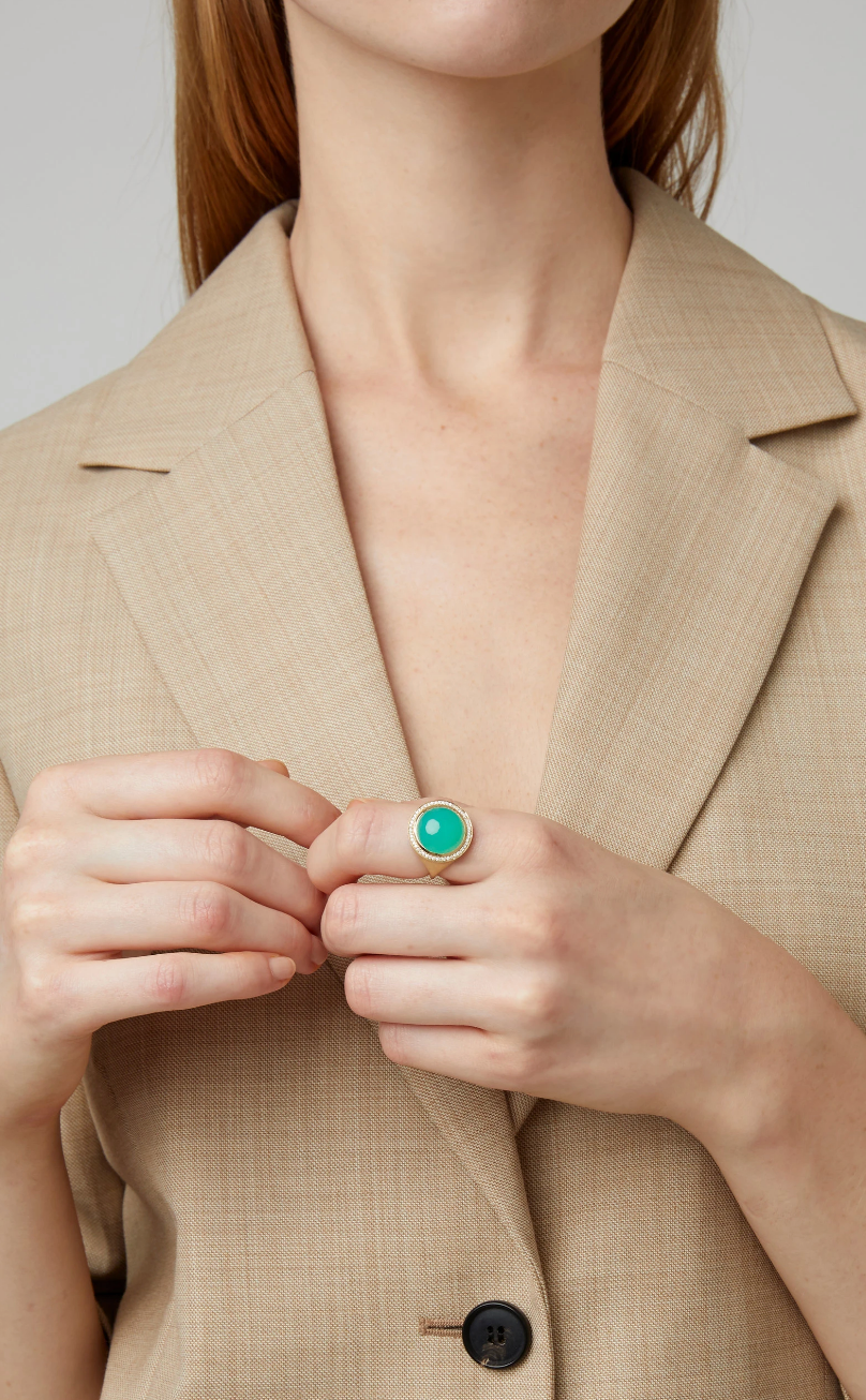 Chrysoprase & Diamond Lollipop Ring