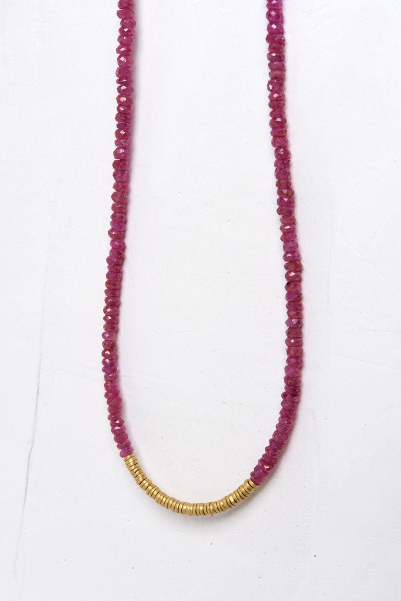 Classic Gemstone Necklace in Small Rubies