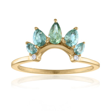 Green Sapphire Crown Ring