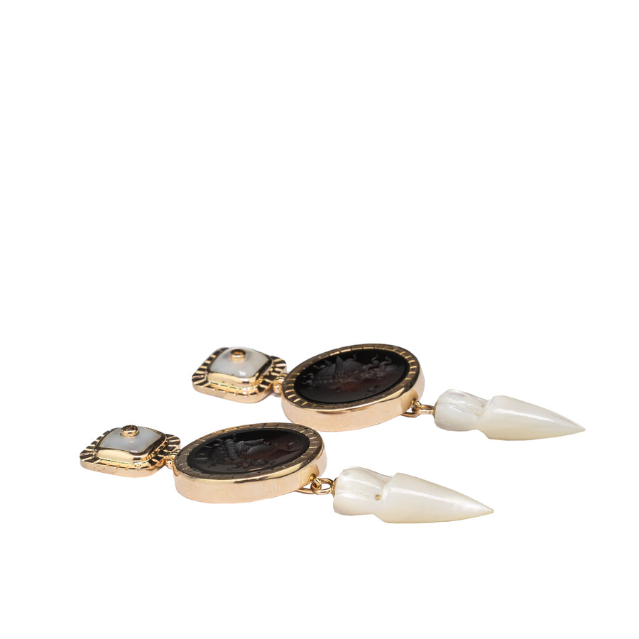 Cornelian Cameo Drop Earrings