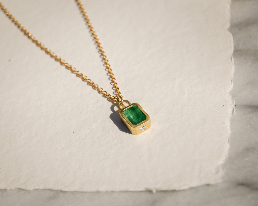 Emerald and Diamond Lock Pendant Necklace
