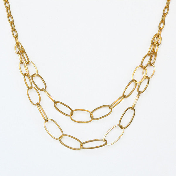 Double Oval Links Necklace - Gold