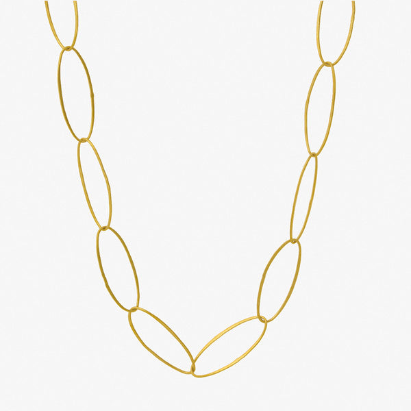 "Oval Links Necklace - 24""Gld"
