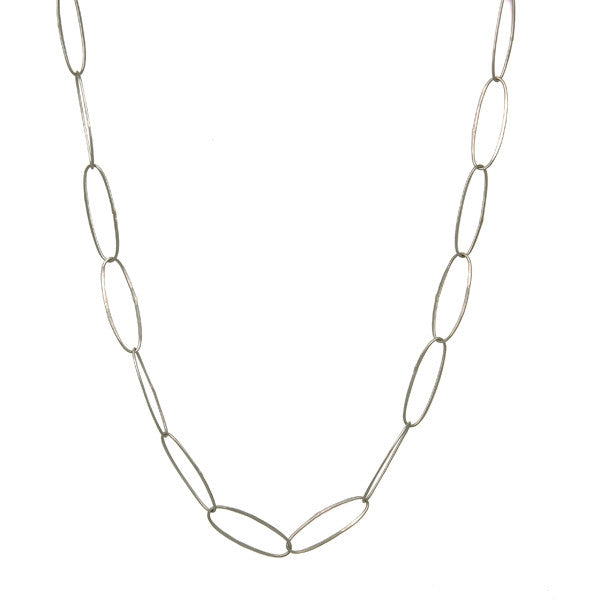 "Oval Links Necklace - 24""Silver"