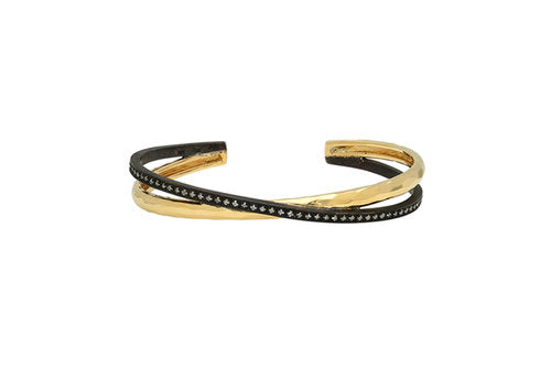Double Bangle in 14K Gold, Silver & Diamonds
