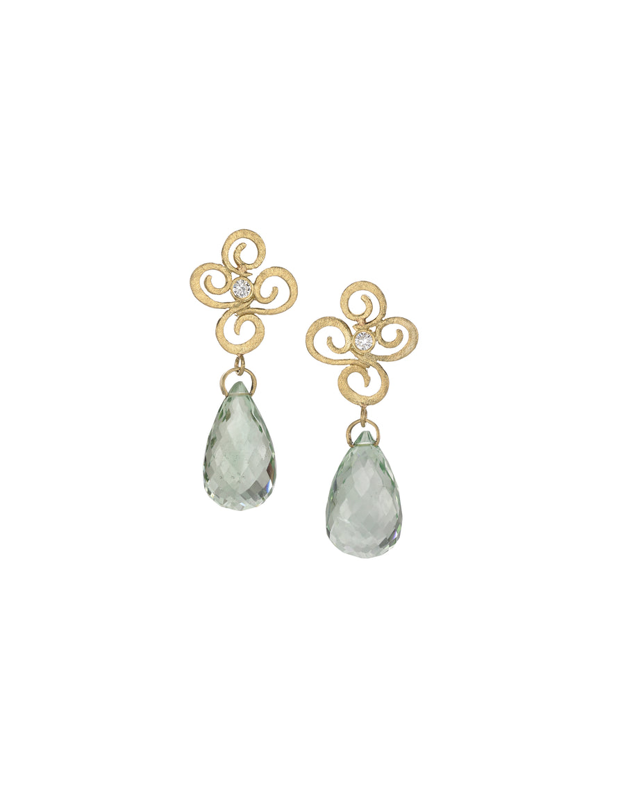 Green Amethyst and Diamonds Drop Earrings