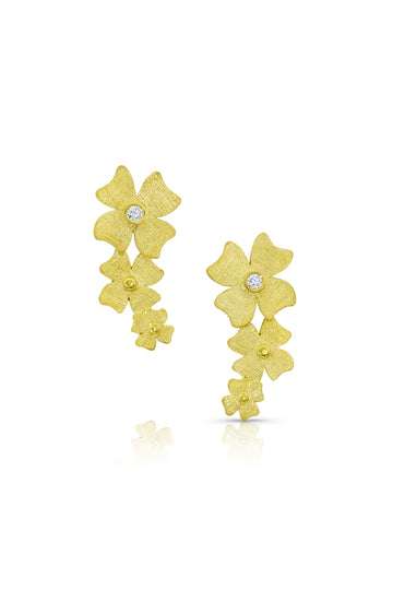 Gold Long Flower Cluster Earrings