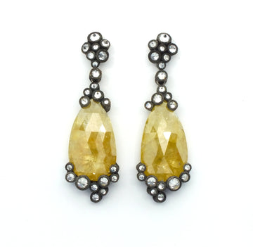 Yellow Diamond Rose-Cut Earrings