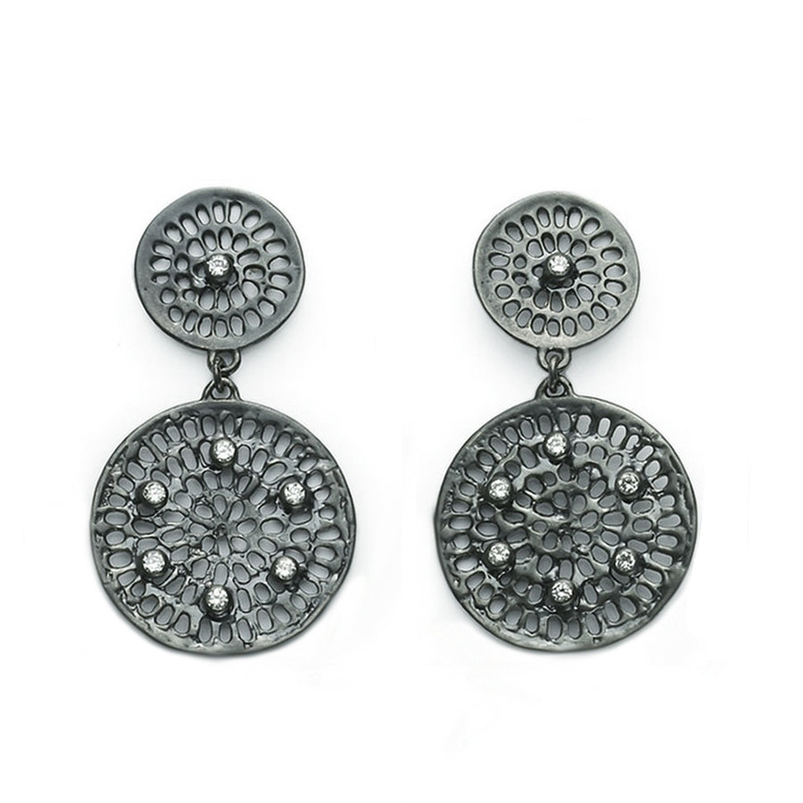Double Diamond Pinwheel Earrings in Rhodium Finish