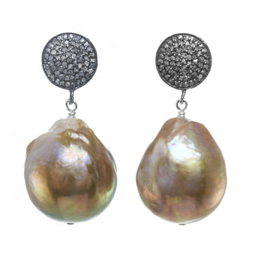 Natural Baroque Pearl Earrings with Pave Diamonds
