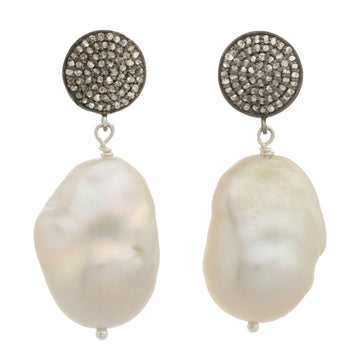 White Baroque Pearl Earrings with Pave Diamonds