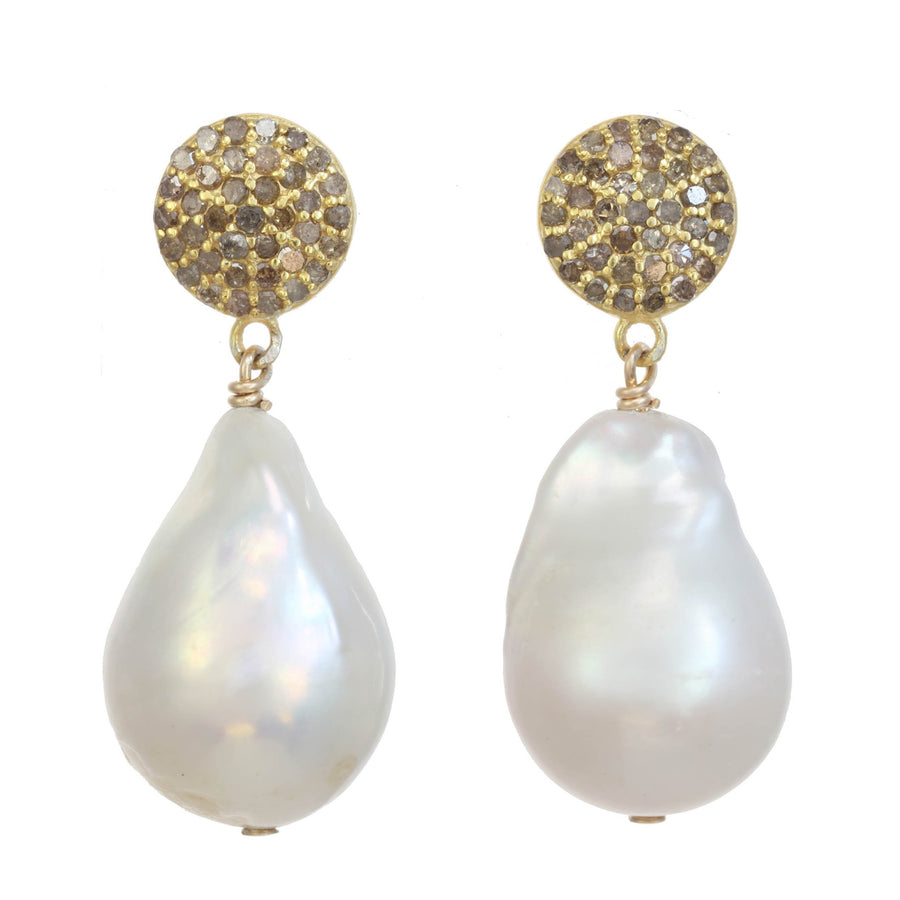 18KG Vermeil & White Baroque Pearl Earrings with Pave Diamonds