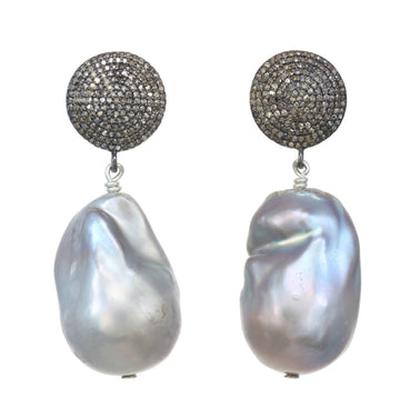 Grey Baroque Pearl, Pave Diamonds & Sterling Silver Earrings