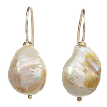 Natural Baroque Pearl Earrings on Earwire
