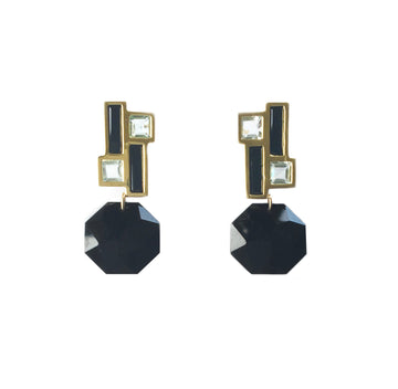 Mondrian Earrings with Faceted Onyx Drops
