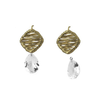 Veil on a Wire Earrings with Detachable White Topaz Drops