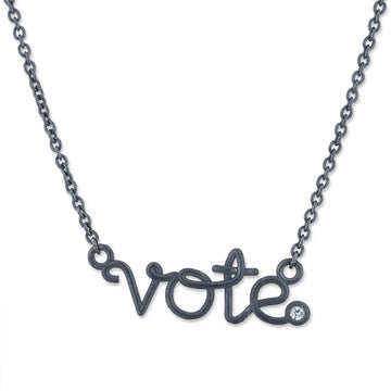 Vote Necklace- Oxidized silver