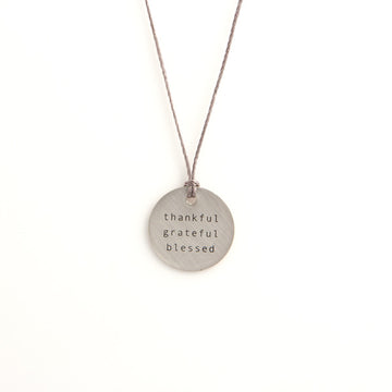 Silver Pendant Necklace - Thankful...