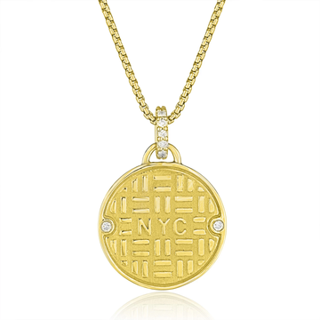 GOLD MANHOLE PENDANT NECKLACE