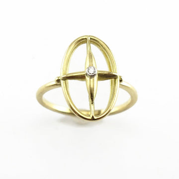 Cross Open Oval Star Cross Diamond Ring