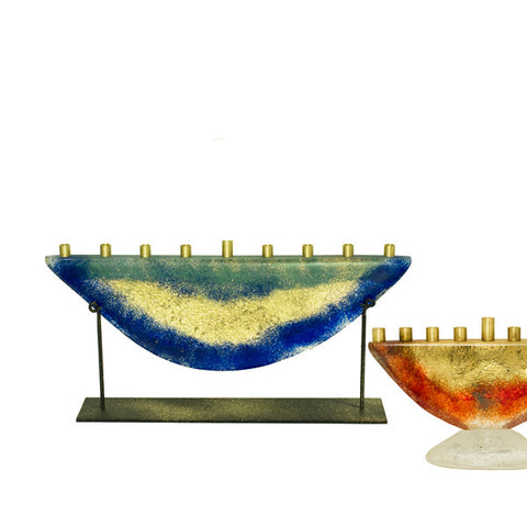 Glass Menorah with Stand