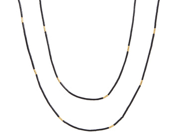Long Wrappable Single Strand Jet Necklace