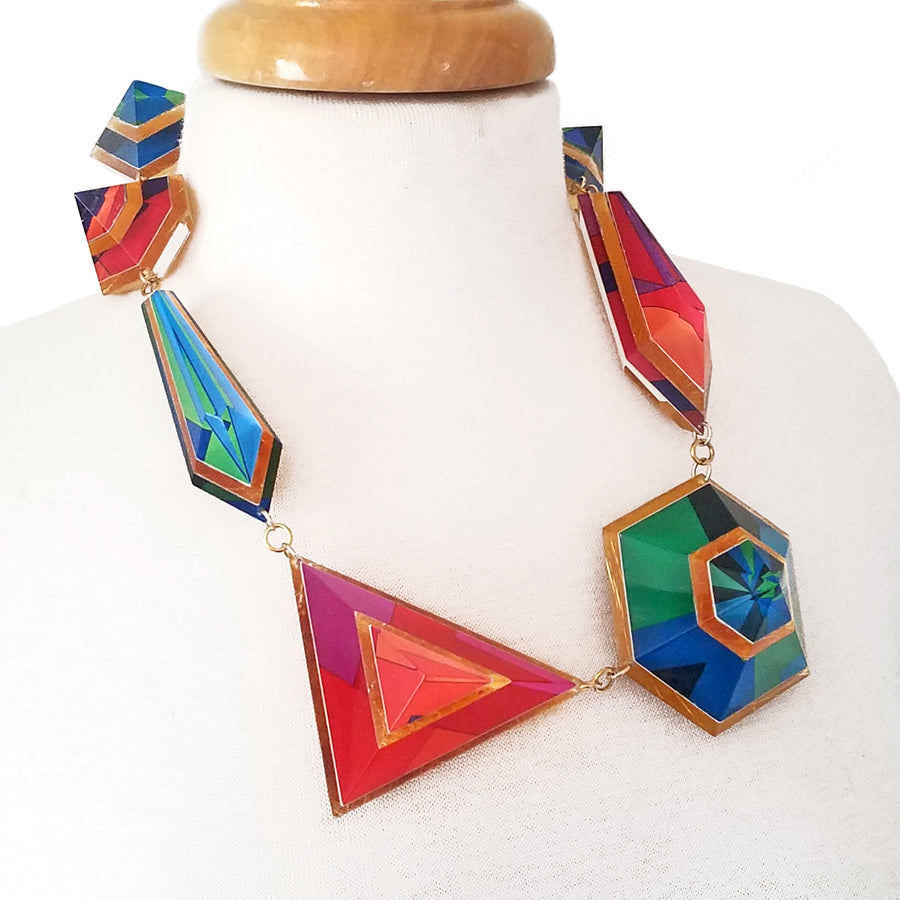 Op Art and Gold Geometric Statement Necklace
