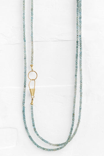 Gold Safety Pin Clasp Labradorite Necklace