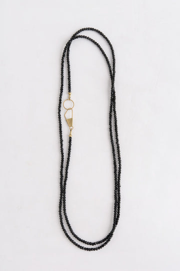 Gold Safety Pin Clasp Onyx Necklace