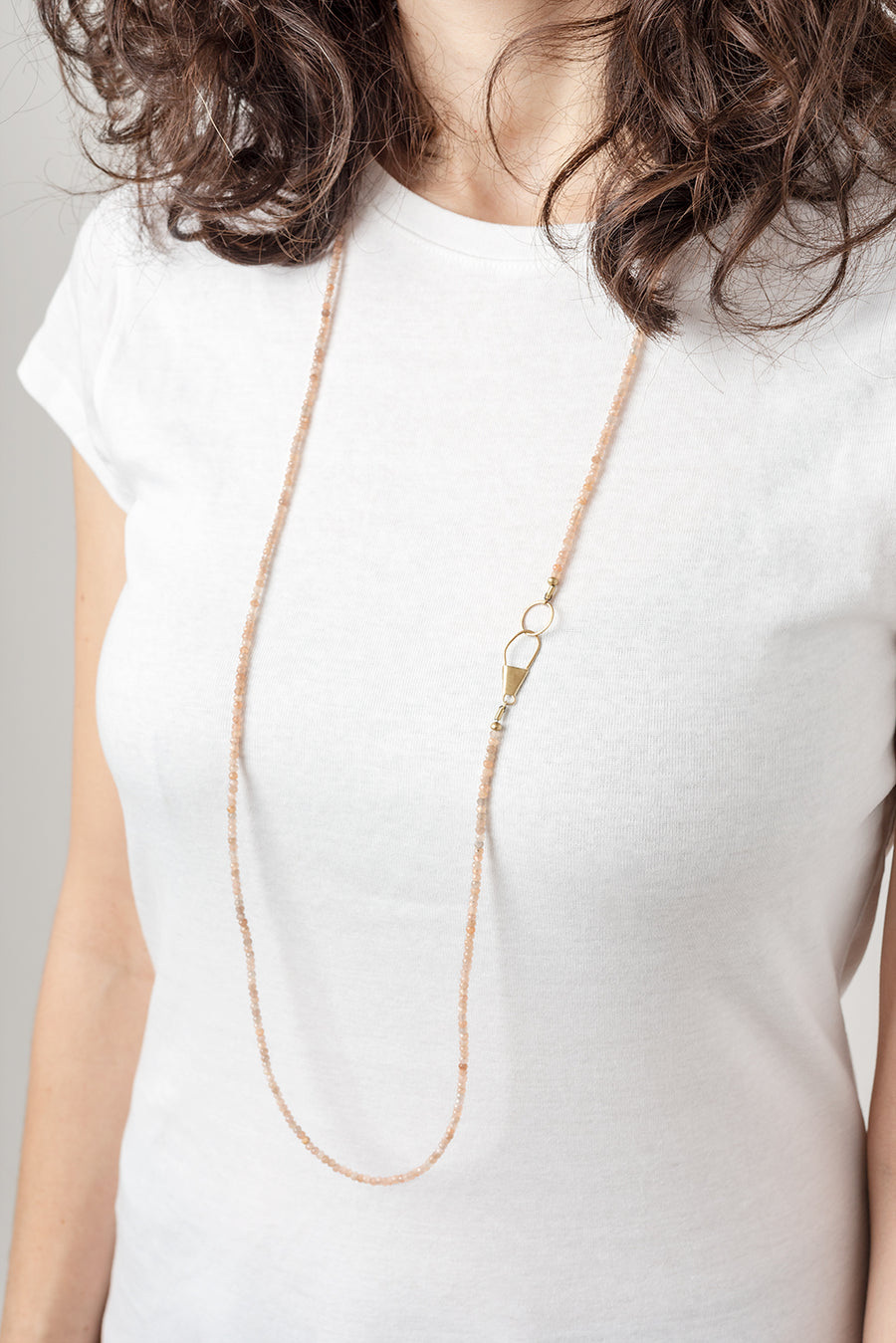 Gold Safety Pin Clasp Aquamarine Necklace