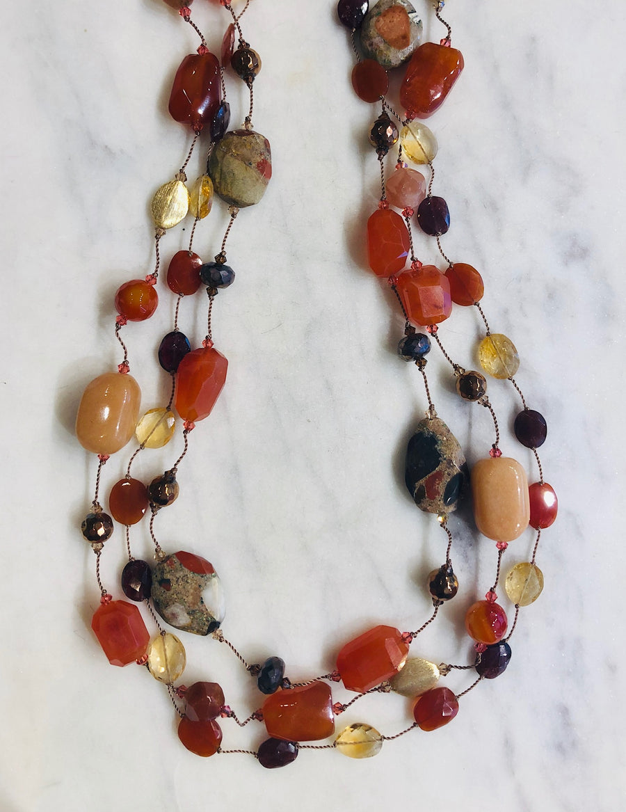 Spotted Chalcedony, Carnelian, Moonstone, Pyrite Necklace
