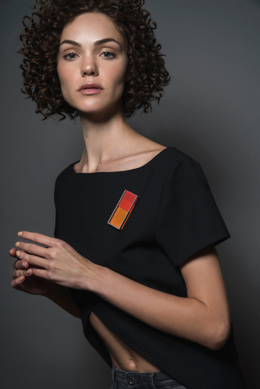Rectangular Color Brooch