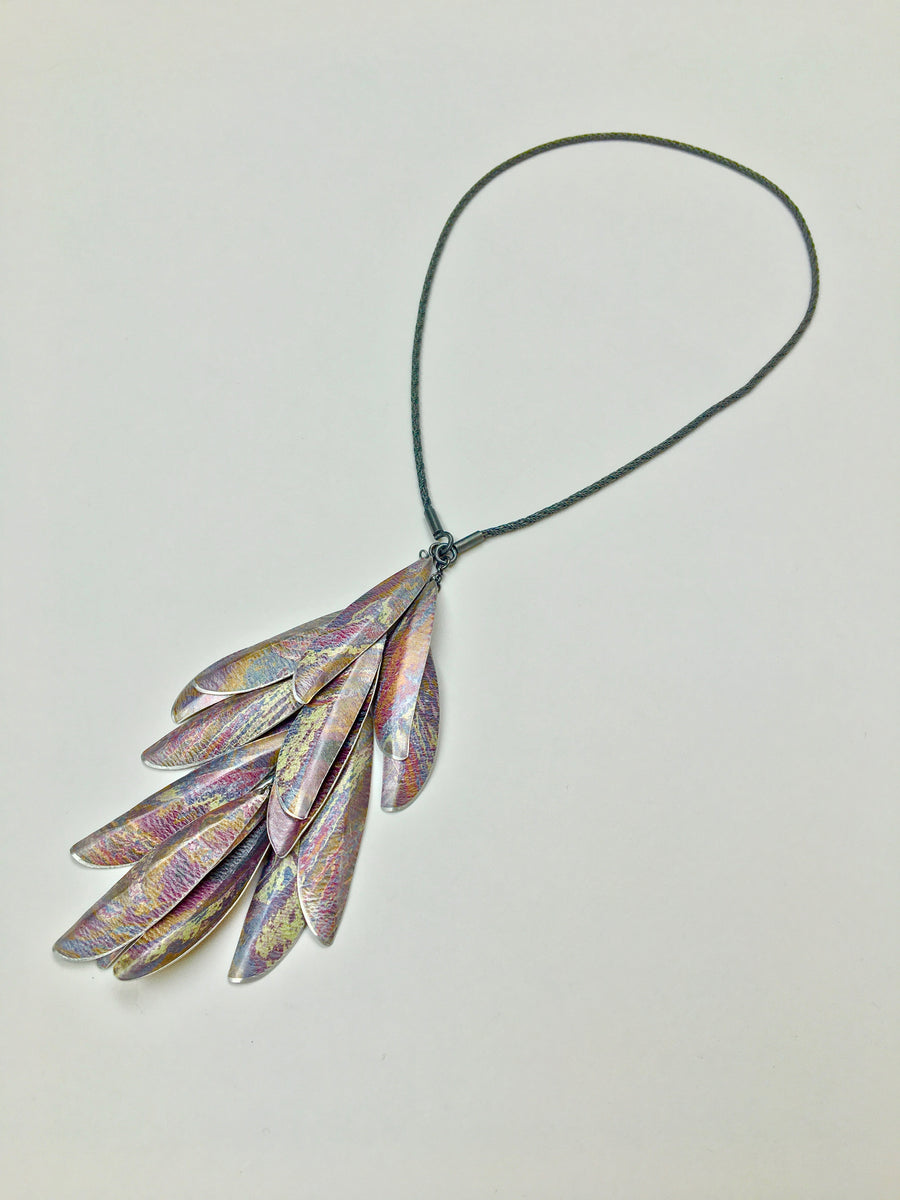 Purple Three Way Necklace with 15 Long Leaves