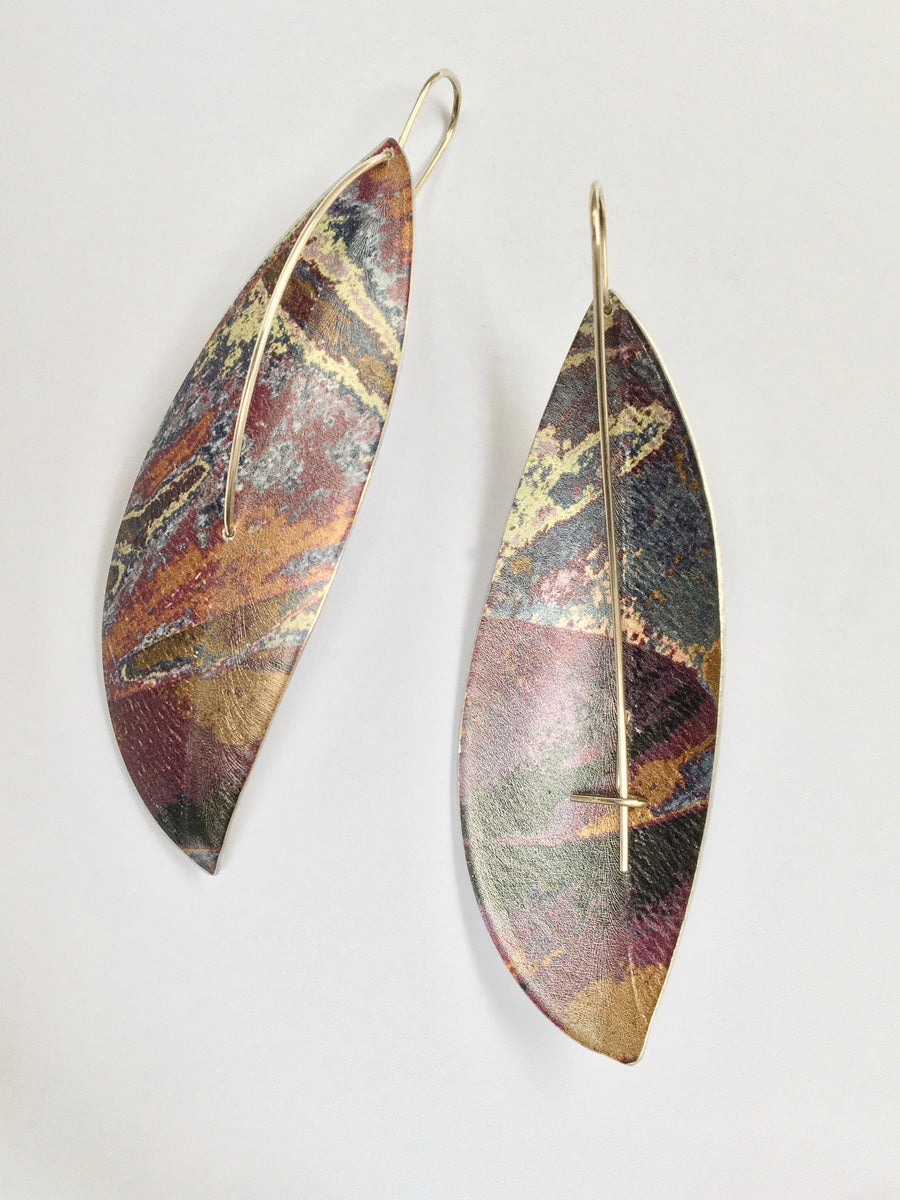 Purple Large Leaf Earrings on Hooks