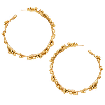 Large Granulated Bronze Hoop Earrings
